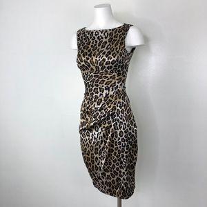 Cache   Leopard Print Sheath Ruched Dress Stretchy